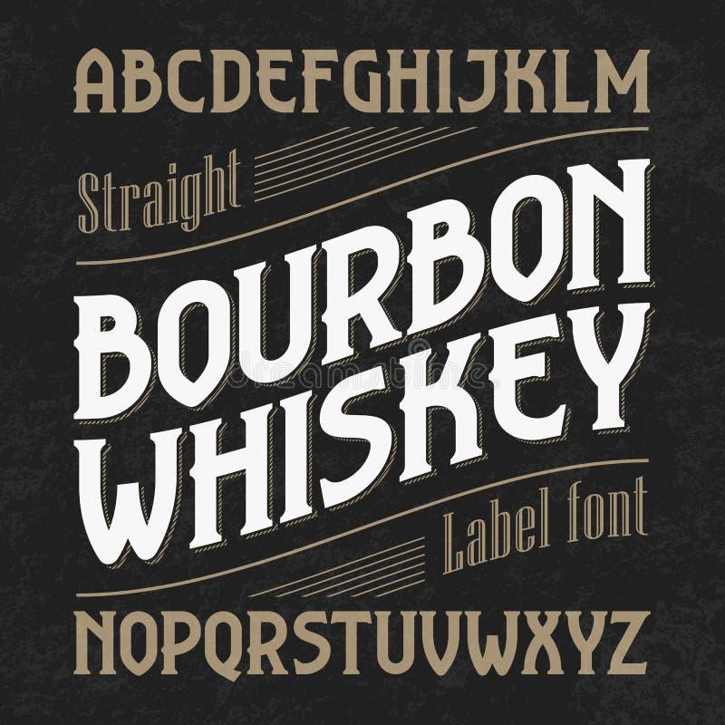 Fuente de la etiqueta del whisky de Borbón con diseño de muestra ilustración del vector