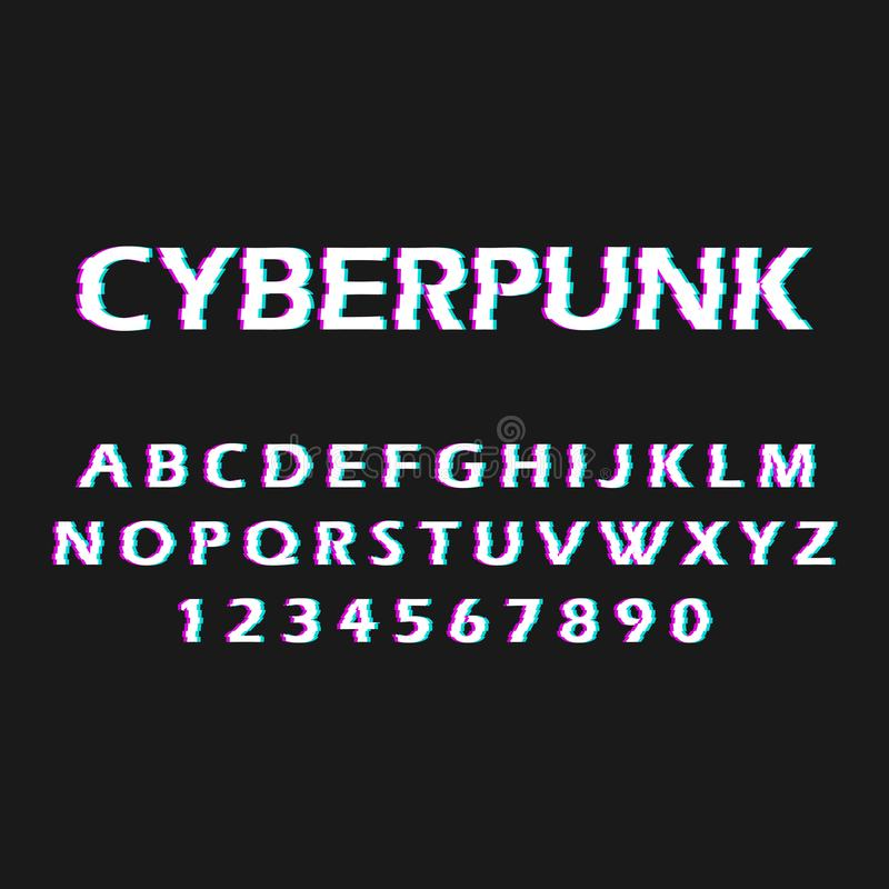 Fuente de la interferencia Torcido, fuente del malfuncionamiento Cyberpunk del estilo Letras y números ilustración del vector