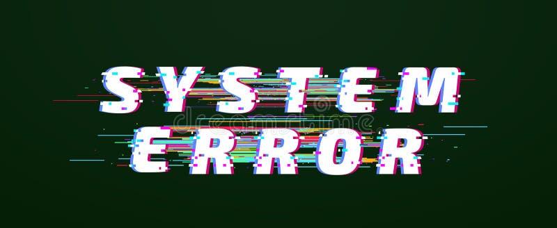 Fuente de la interferencia Vector glitched torcido digital del texto del error de sistema stock de ilustración