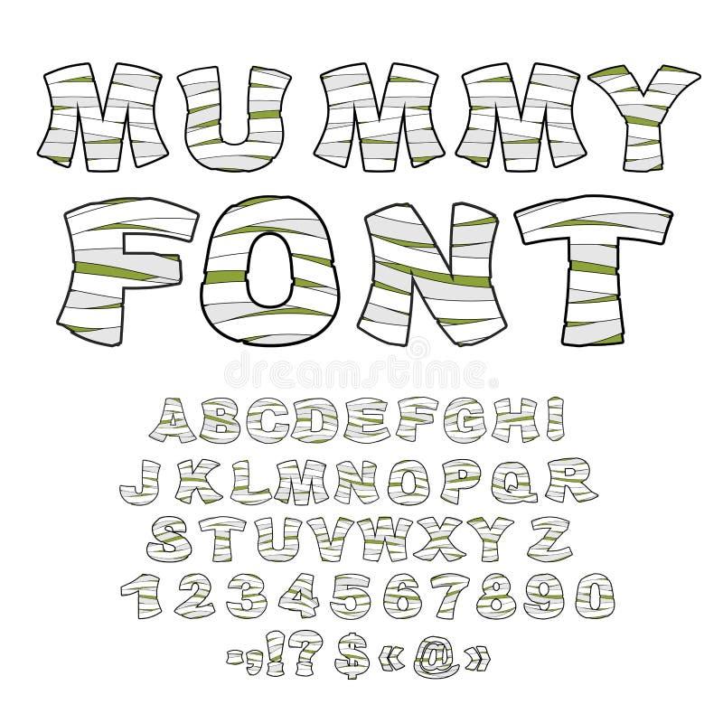 Fuente de la momia Alfabeto en vendajes Letras del zombi del monstruo del lat ilustración del vector