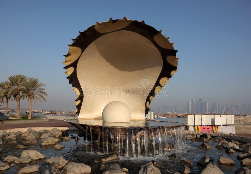 Fuente de la perla de la ostra en Doha imagen de archivo libre de regalías