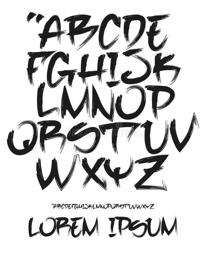 Fuente de la pintada - mano escrita - Vector el alfabeto ilustración del vector