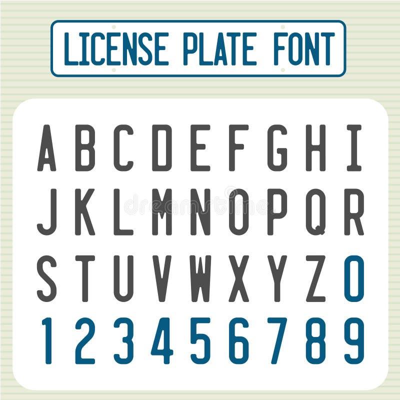 Fuente de la placa Letras del número de identificación del coche fijadas ilustración del vector