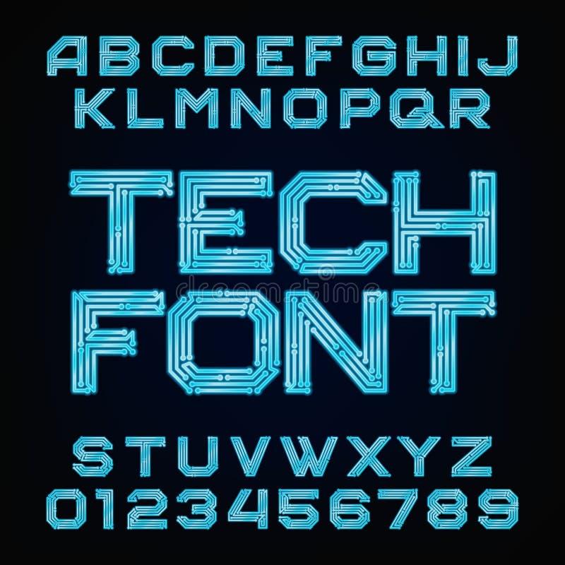 Fuente de la tecnología Alfabeto del vector libre illustration