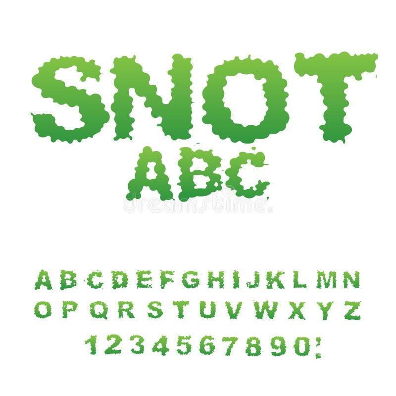 Fuente de los mocos Lloriquee el alfabeto Letras verdes del limo Booger ABC Sli libre illustration