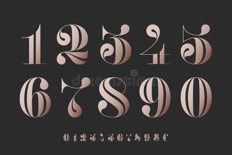 Fuente de números en didot francés clásico stock de ilustración