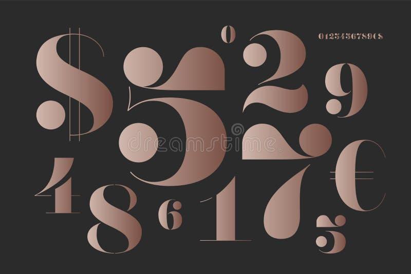 Fuente de números en estilo francés clásico del didot stock de ilustración