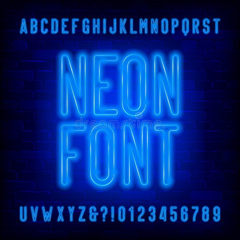 Fuente de neón azul del alfabeto Mayúsculas condensadas y números de la bombilla stock de ilustración