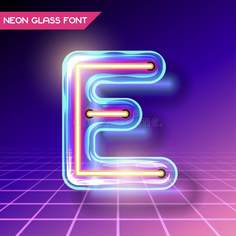 Fuente de neón de cristal retra ilustración del vector
