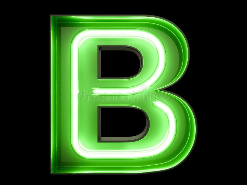Fuente de neón del carácter B del alfabeto de la luz verde stock de ilustración