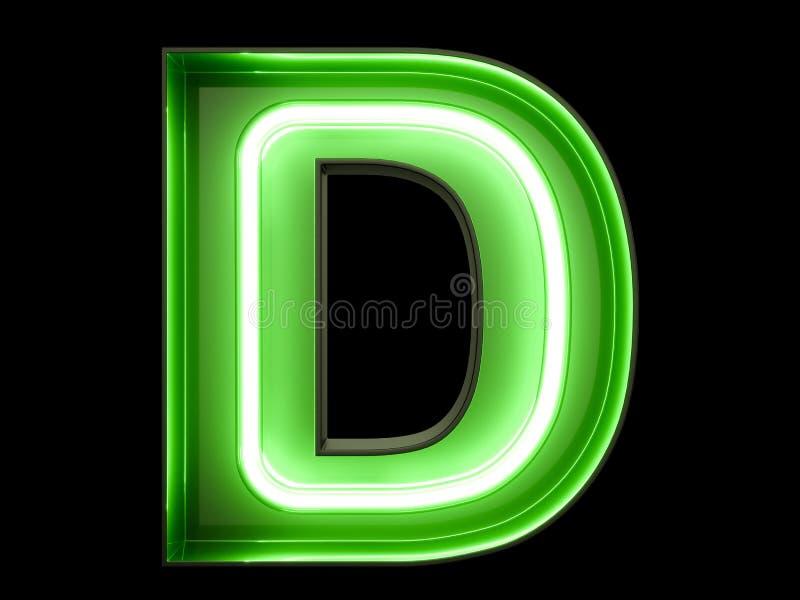 Fuente de neón del carácter D del alfabeto de la luz verde libre illustration