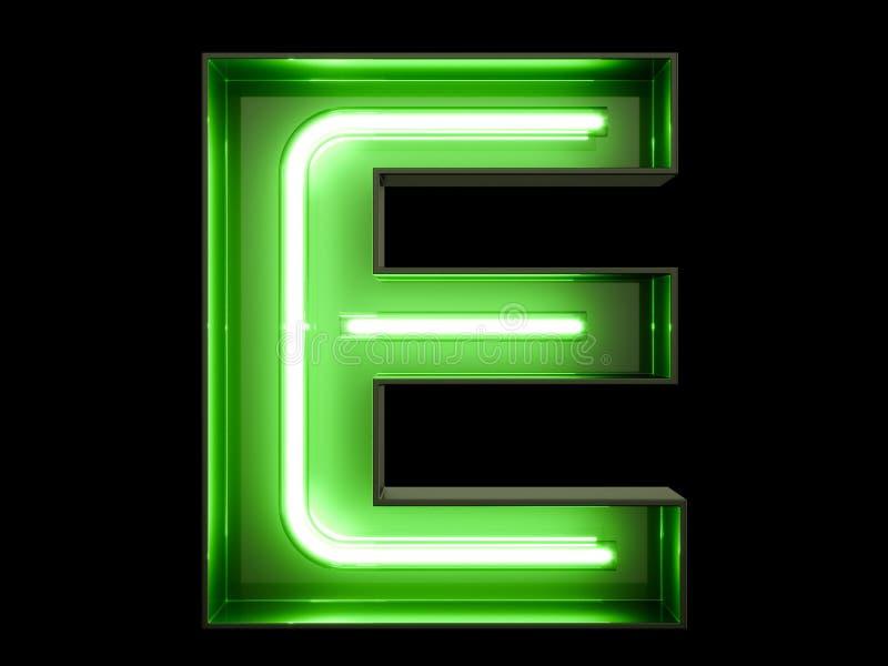 Fuente de neón del carácter E del alfabeto de la luz verde libre illustration