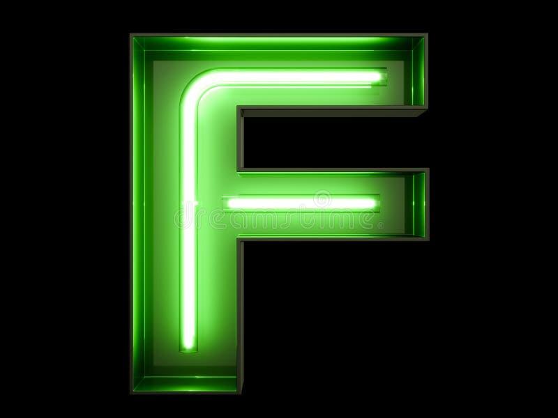 Fuente de neón del carácter F del alfabeto de la luz verde ilustración del vector