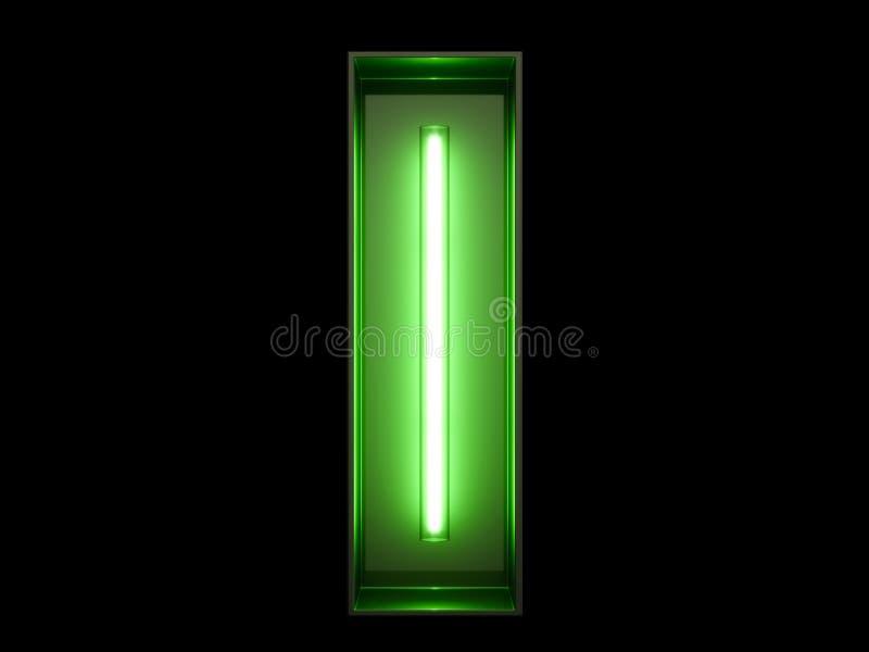 Fuente de neón del carácter I del alfabeto de la luz verde ilustración del vector
