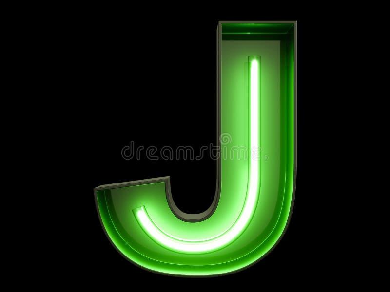 Fuente de neón del carácter J del alfabeto de la luz verde ilustración del vector