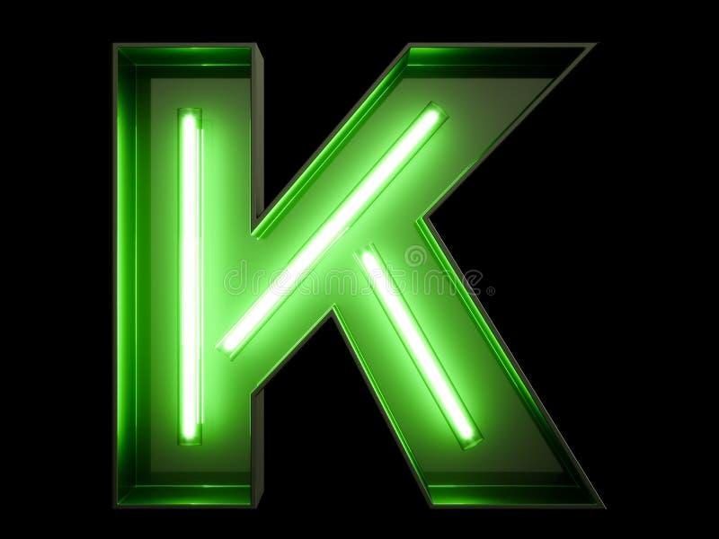 Fuente de neón del carácter K del alfabeto de la luz verde ilustración del vector