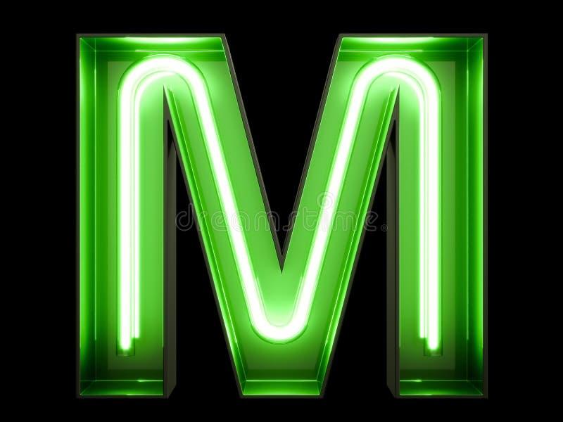 Fuente de neón del carácter M del alfabeto de la luz verde stock de ilustración