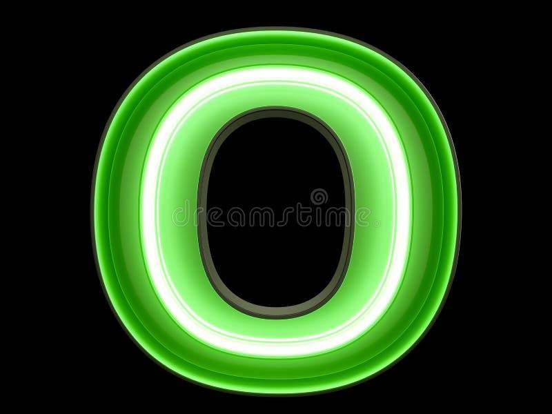 Fuente de neón del carácter O del alfabeto de la luz verde stock de ilustración