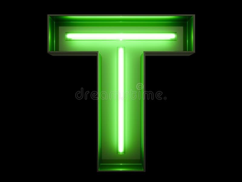 Fuente de neón del carácter T del alfabeto de la luz verde stock de ilustración