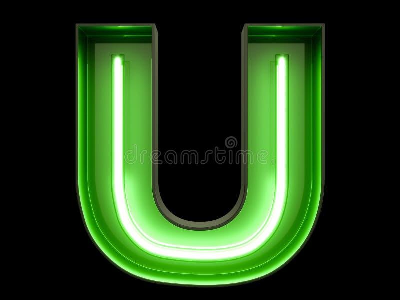Fuente de neón del carácter U del alfabeto de la luz verde ilustración del vector