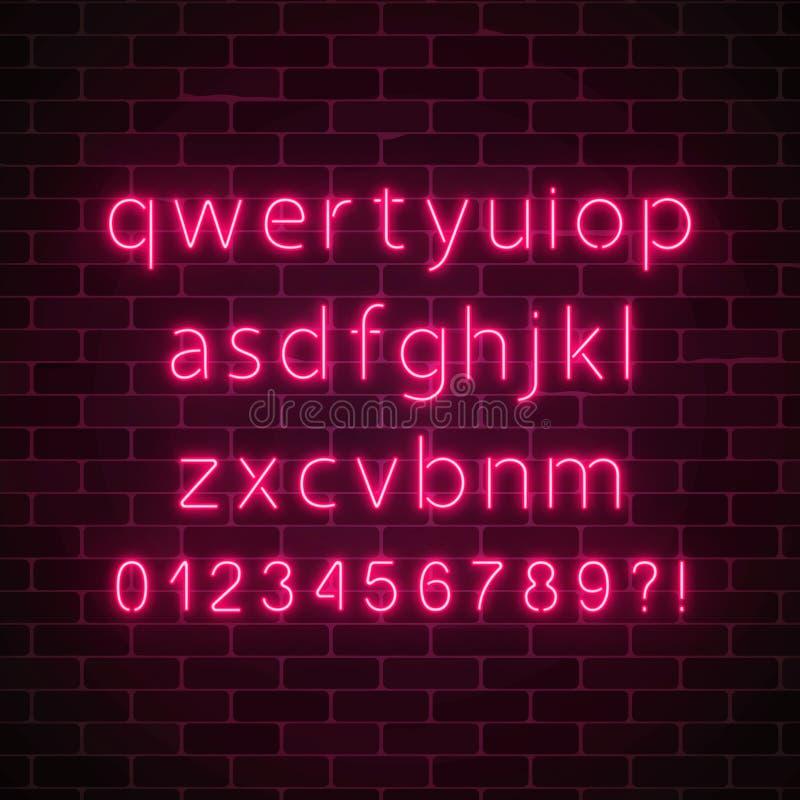 Fuente de neón del estilo del vector Alfabeto de neón rojo que brilla intensamente con las letras minúsculas en fondo oscuro de l ilustración del vector