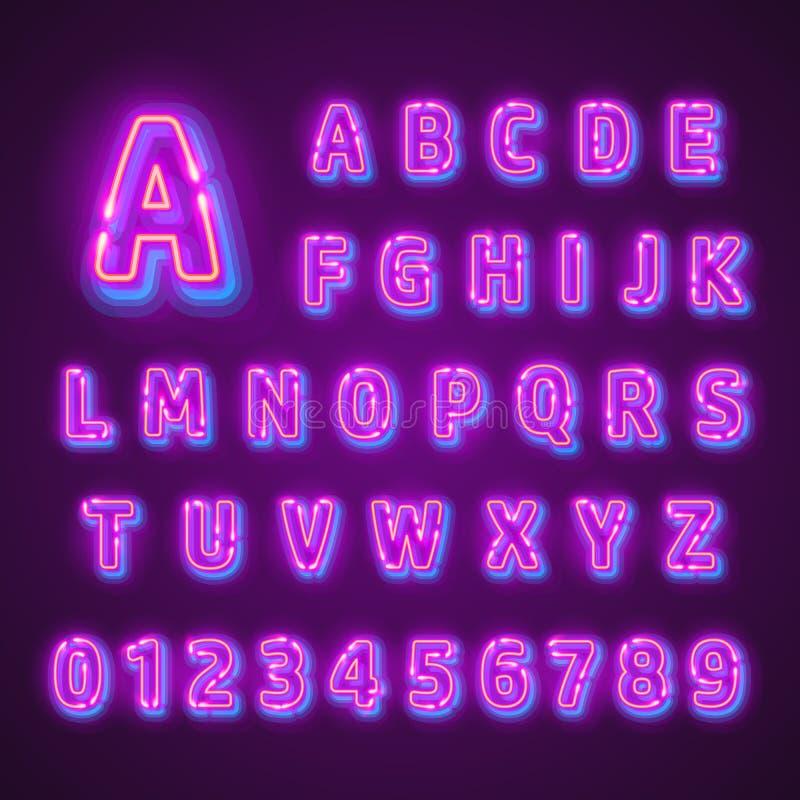 Fuente de neón fluorescente en fondo oscuro Alfabeto del Nightlight Ilustración del vector ilustración del vector