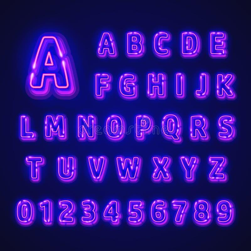 Fuente de neón fluorescente en fondo oscuro Alfabeto del Nightlight Ilustración del vector libre illustration