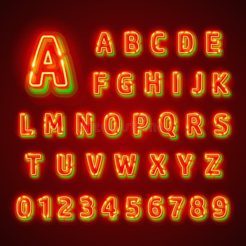 Fuente de neón fluorescente roja en fondo oscuro Alfabeto del Nightlight Ilustración del vector libre illustration