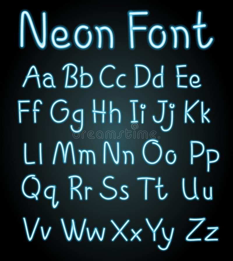 Fuente de neón para los alfabetos ingleses ilustración del vector