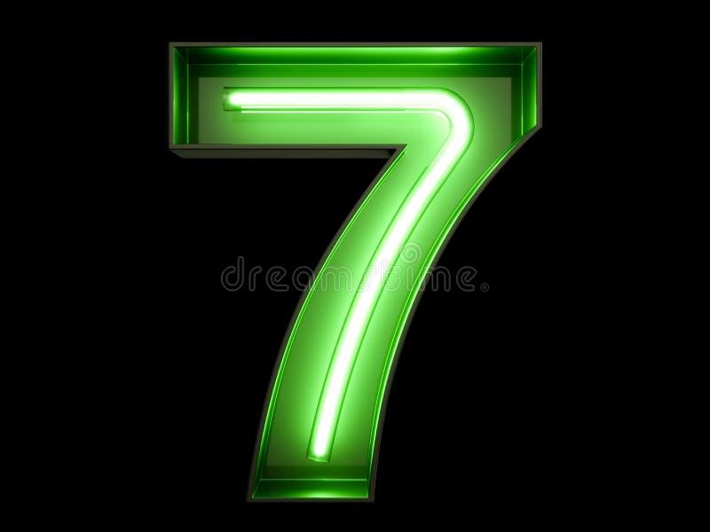 Fuente de neón siete del carácter 7 del alfabeto del dígito de la luz verde stock de ilustración