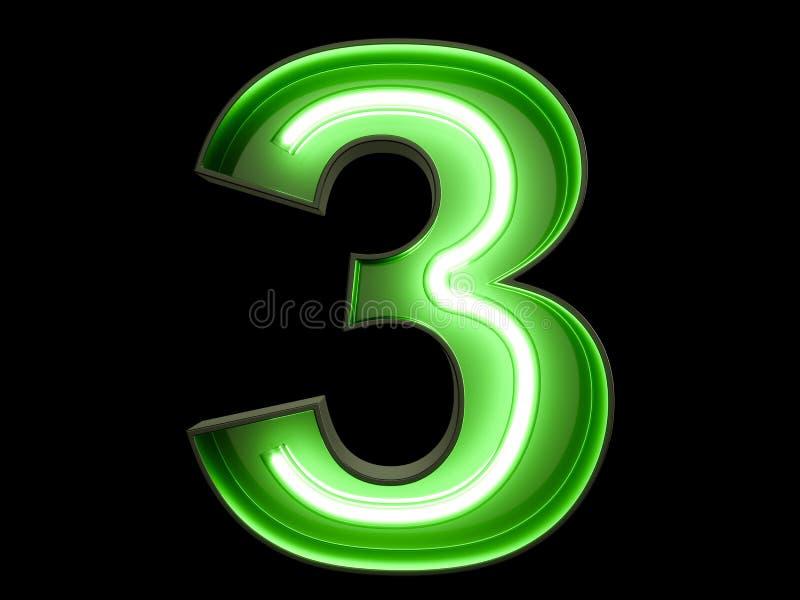 Fuente de neón tres del carácter 3 del alfabeto del dígito de la luz verde stock de ilustración