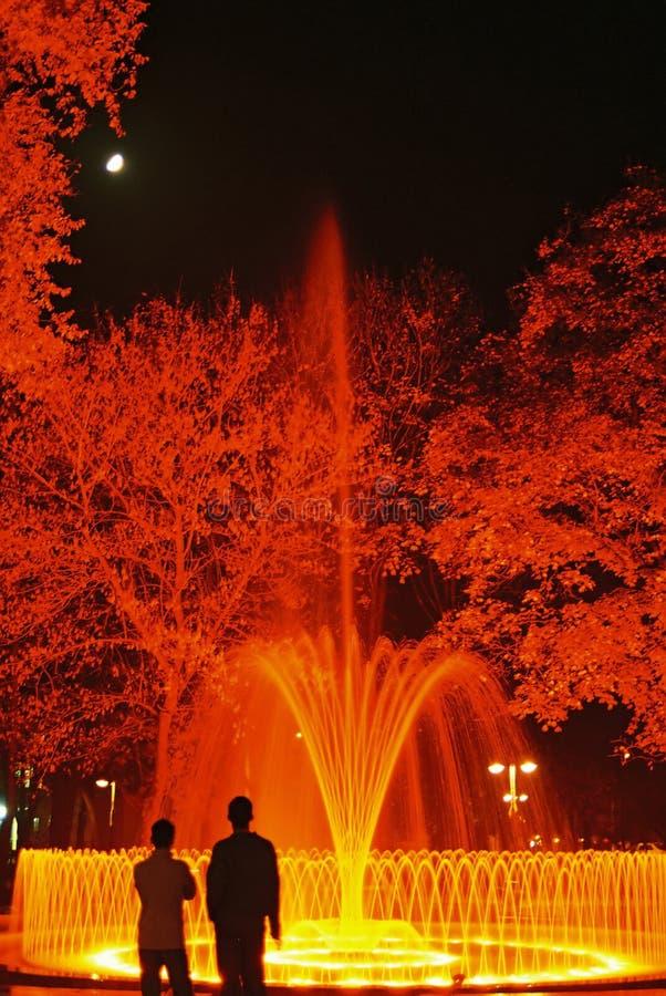 Fuente De Night Fotografía de archivo