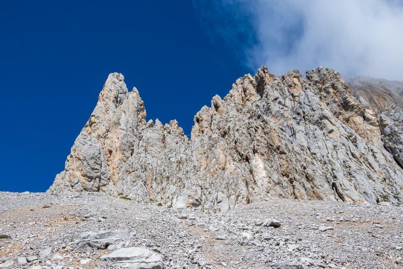 Fuente De no nas montanhas de Picos de Europa, Cantábria, Espanha imagem de stock