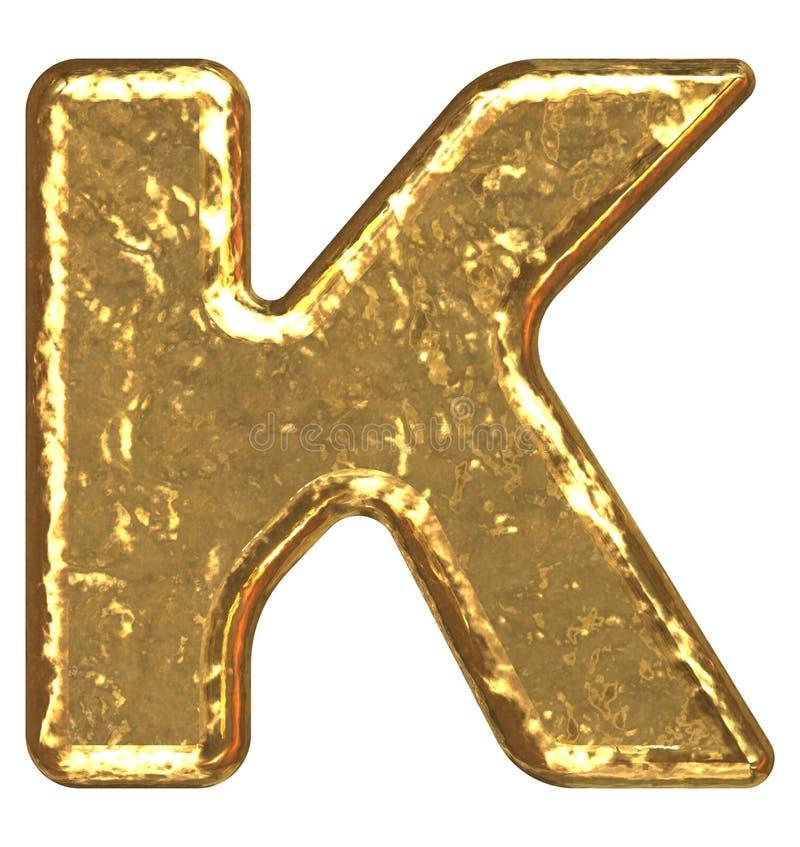 Fuente de oro. Letra K. stock de ilustración