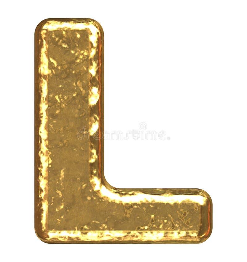 Fuente de oro. Letra L. imagen de archivo