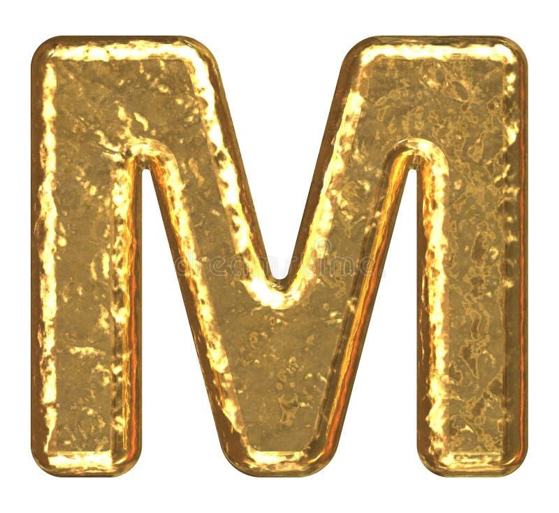Fuente de oro. Letra M. ilustración del vector