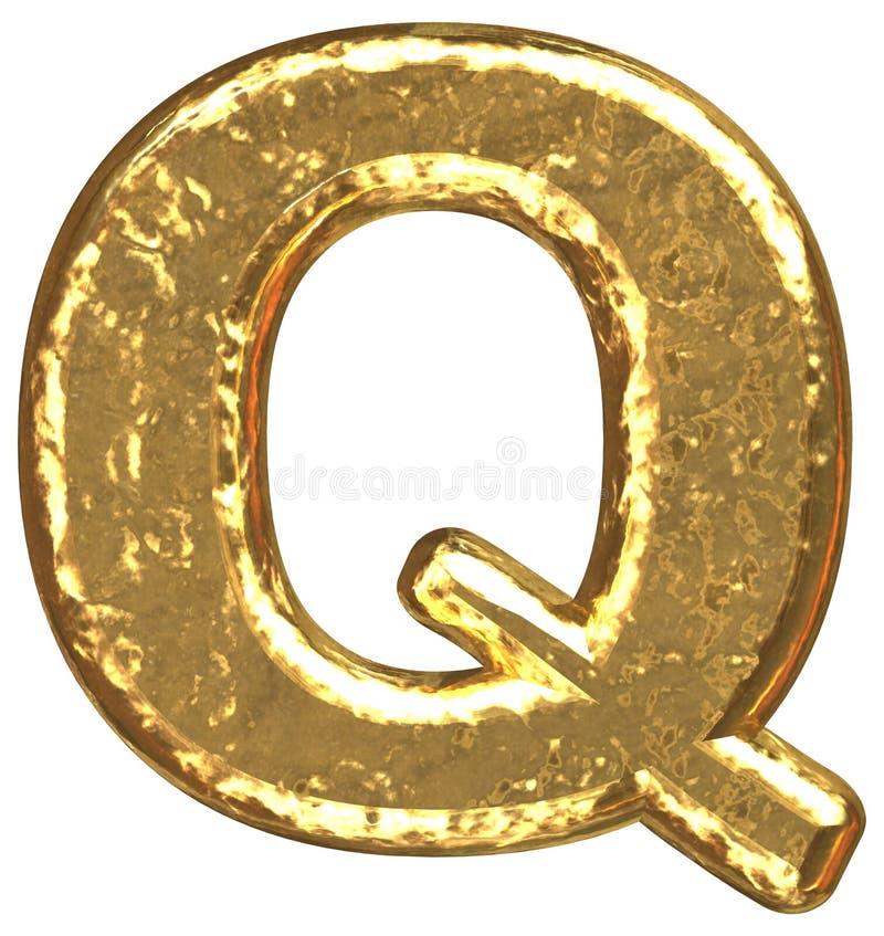 Fuente de oro. Letra Q. stock de ilustración