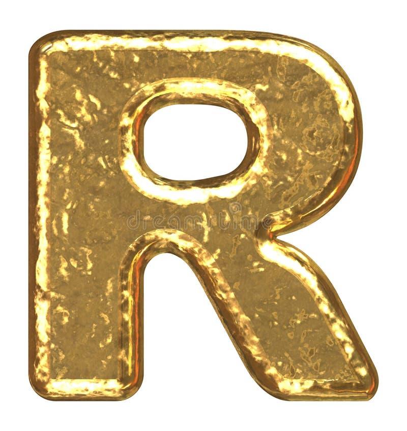Fuente de oro. Letra R. ilustración del vector