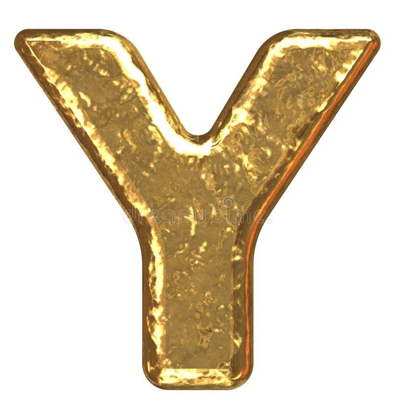 Fuente de oro. Letra Y. ilustración del vector