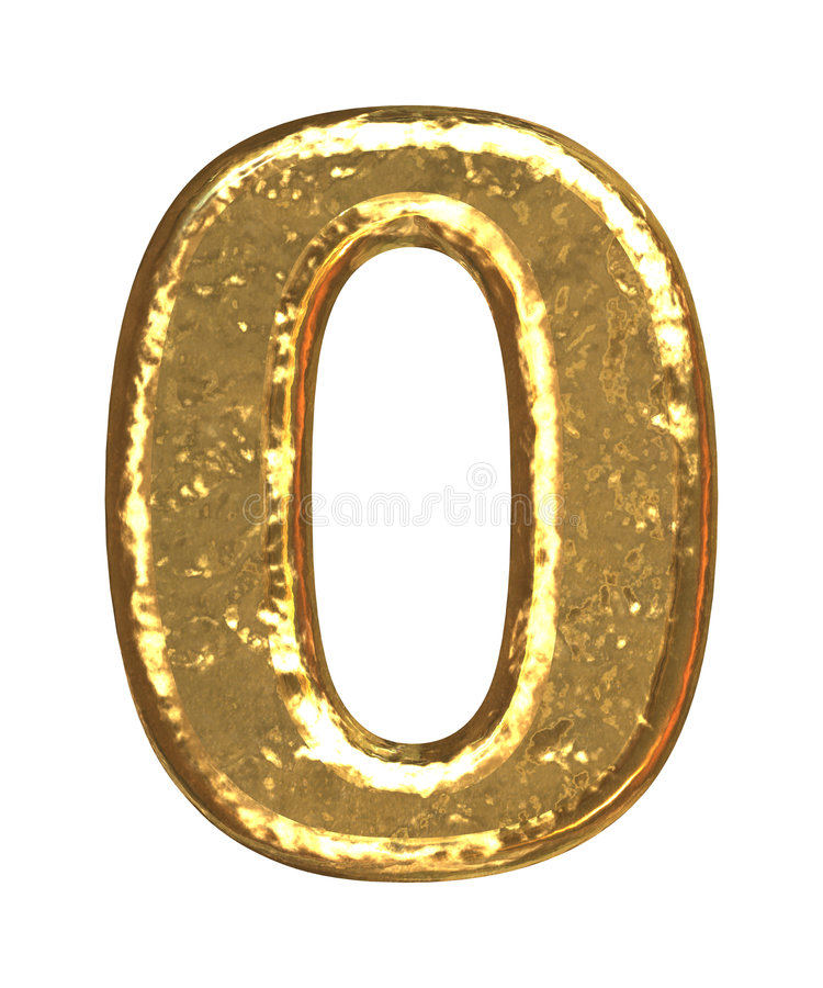 Fuente de oro. Número cero ilustración del vector