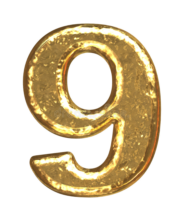 Fuente de oro. Número nueve stock de ilustración
