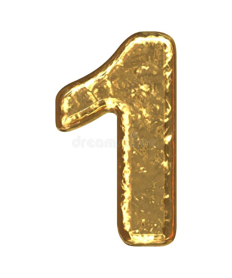 Fuente de oro. Número uno imagenes de archivo