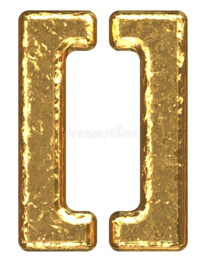 Fuente de oro. Paréntesis del símbolo stock de ilustración