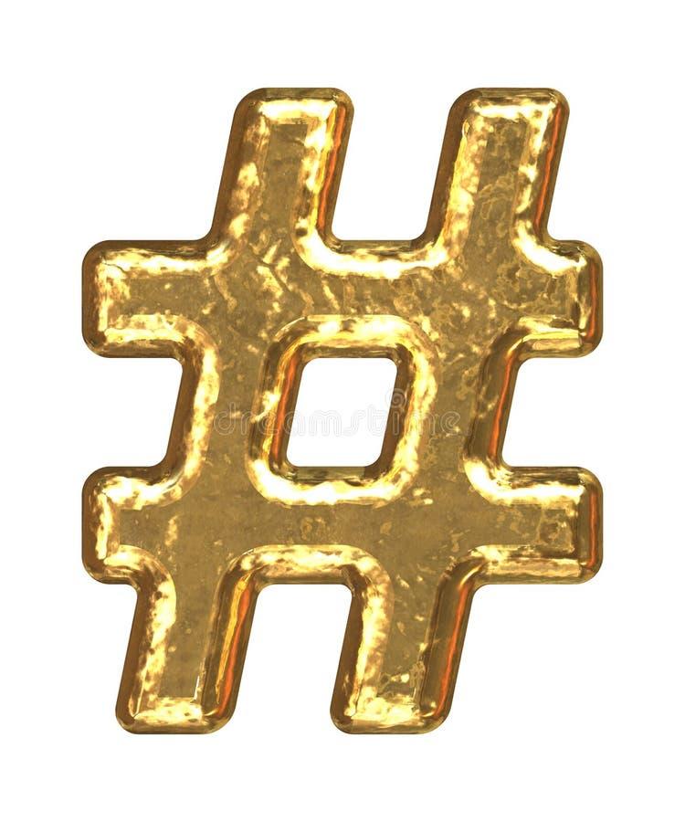 Fuente de oro. Sostenido del símbolo. stock de ilustración