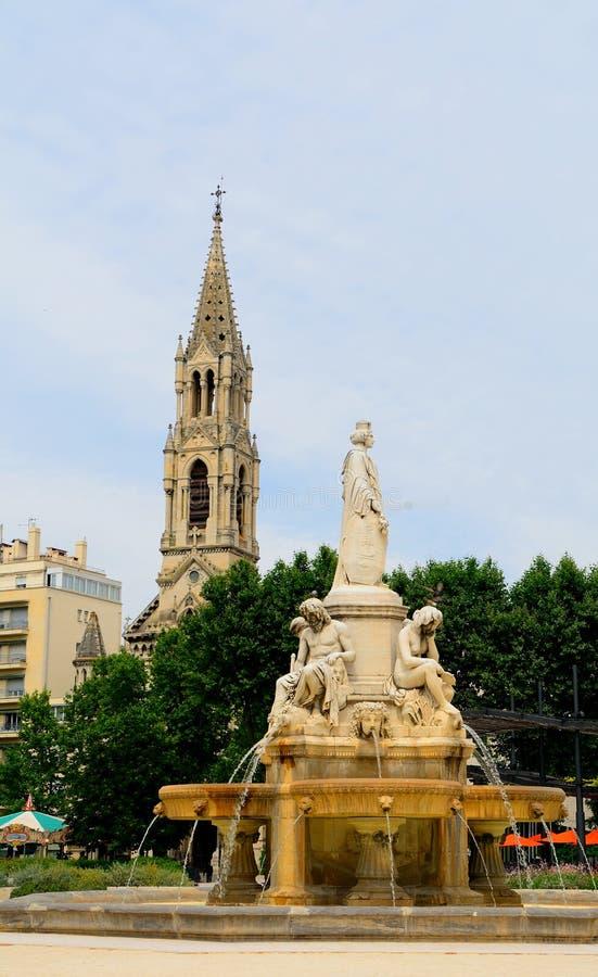 Fuente de Pradier, Nimes, Francia imagen de archivo libre de regalías