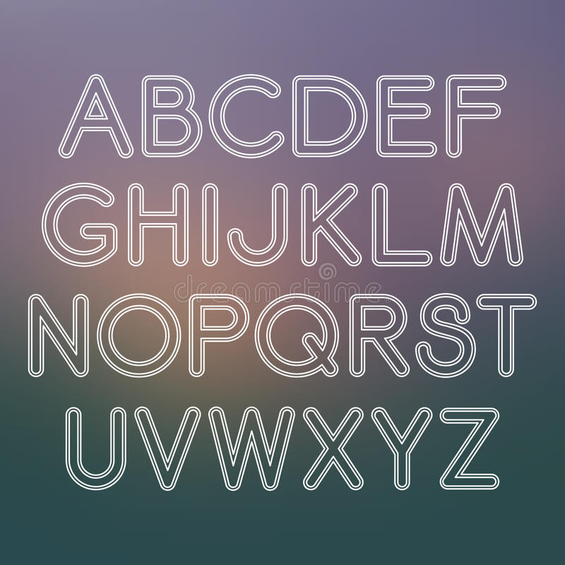 Fuente de sans serif del vector con las esquinas redondeadas stock de ilustración