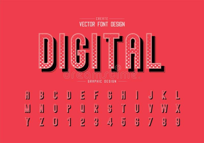 Fuente de semitono del círculo y vector del alfabeto, tipografía y diseño del número, fondo gráfico de la letra de Digitaces del  ilustración del vector