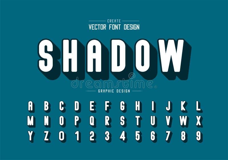 Fuente de sombra y alfabeto redondo vector, Tipo de letra y diseño de número, Texto gráfico en segundo plano imagenes de archivo