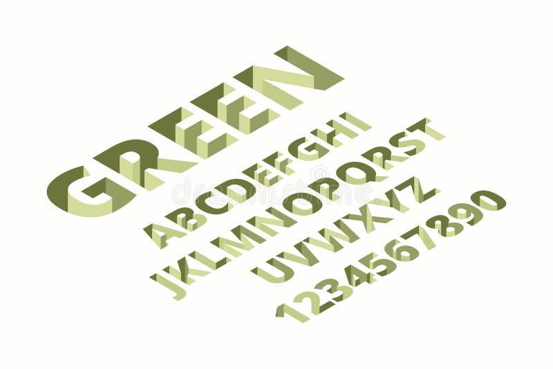 Fuente de taladro. Alfabeto tecno isométrico ladrillo moderno señalización 3d letras vectoriales stock de ilustración