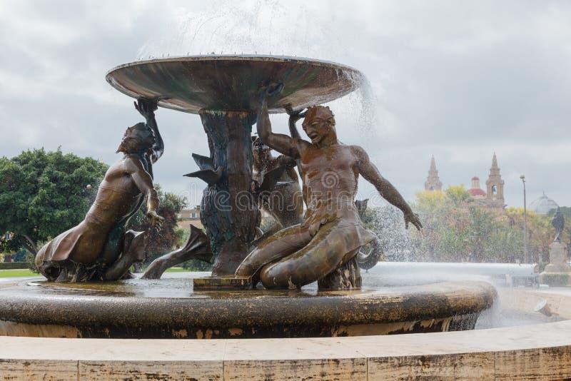 Fuente de Tritón de Malta foto de archivo libre de regalías
